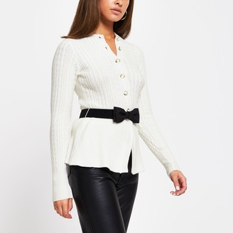 River Island Womens Cream cable knit belted cardigan