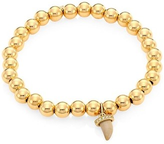 Sydney Evan 14K Yellow Gold & Diamond Wood Horn Charm Beaded Bracelet