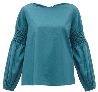 Merlette New York Miombo Smocked-sleeve Cotton-poplin Blouse - Womens - Blue