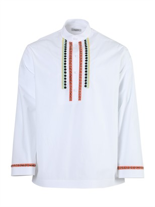 Valentino White Embroidered Long-sleeve Shirt