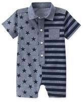 Gymboree Size 0-3M Stars and Stripes Chambray Romper in Blue