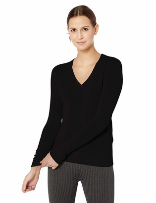 Majestic Filatures Women's Cashmere Long Sleeve V-Neck Sweater