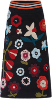 RED Valentino Floral Knit Appliqué Skirt