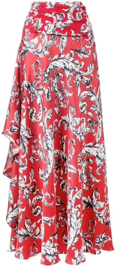 asymmetric draped maxi-skirt