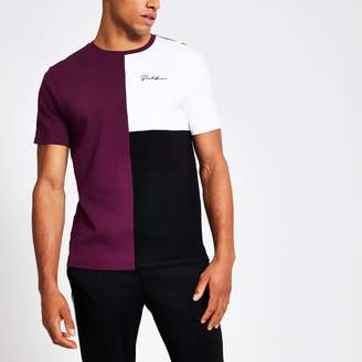 River Island Mens Prolific Purple colour block slim fit T-shirt