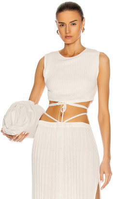 CHRISTOPHER ESBER Sleeveless Knit Tie Crop Top in Natural | FWRD