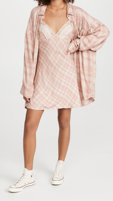 Free People Gracie Plaid Slip and Button Down Set