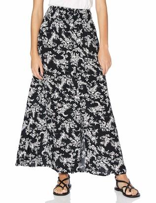 Mavi Jeans Women's Black Stroke Antique White Flower Printed Skirt S