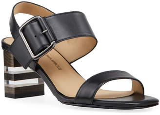 Neiman Marcus Double Banded Leather Sandals