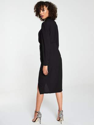 Very Wrap Front Ruched Side Shirt Dress - Black