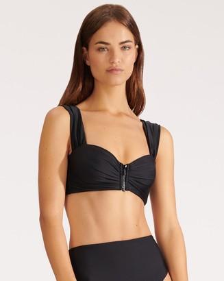 Veronica Beard Balos Zip-Up Bikini Top
