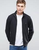 Farah Zip Up Sweatshirt In Regular Fit Black