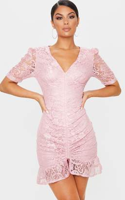 PrettyLittleThing Dusty Pink Lace Ruched Detail Bodycon Dress