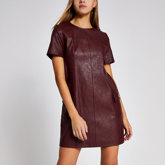 River Island Dark red faux leather swing mini dress