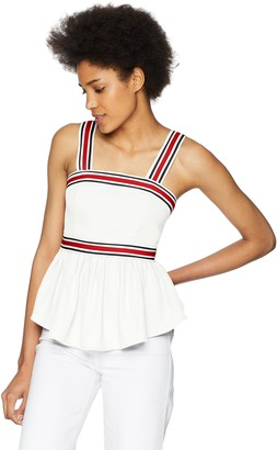C/Meo Women's BE Moved Ribbon Strap Detail Sleeveless Peplum TOP