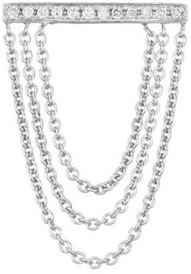 Sydney Evan 14K White Gold & Diamond Bar Chain Stud Earrings