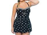 Xuan2Xuan3 Womens Polka Dot One Piece Monokini Swimwear Tankini Swimsuit Swim Dress Plus