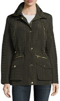 MICHAEL Michael Kors Grid-Quilted Snap-Front Coat