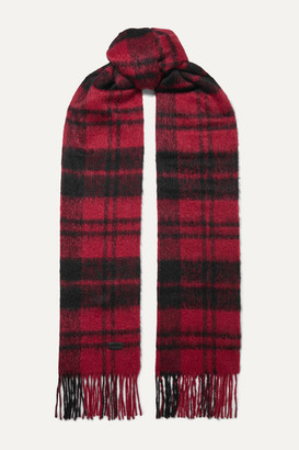 Saint Laurent Fringed Checked Wool-blend Scarf - Red