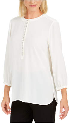 JM Collection Jeweled Pleat-Back Blouse