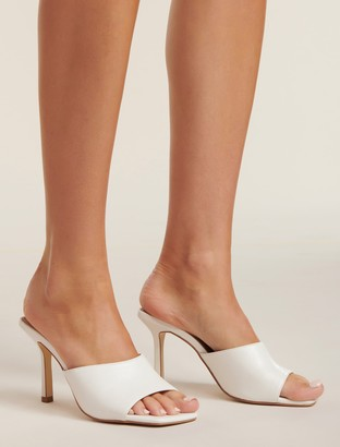 Forever New Brooklyn Square-Toe Mid Heels - White - 36