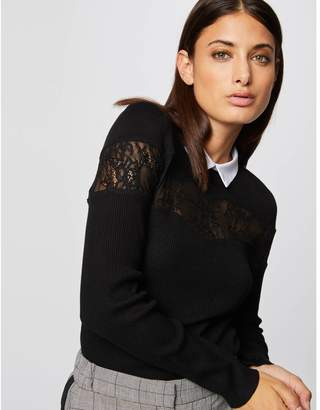 Morgan Fine Knit Laced Jumper with Lace Shirt Collar