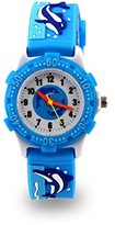 Jewtme Kids' JW0033 Dolphin Pattern Plastic Shell Silicone Strap Cartoon Watch light Blue