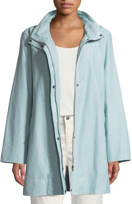 Eileen Fisher Hooded A-Line Long Outerwear Jacket