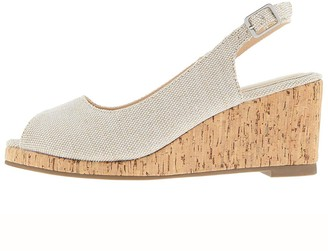 Monsoon Courtney Cork Sling Back Glitter Wedge - Gold