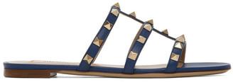Valentino Navy Garavani Rockstud Slip-On Sandals