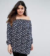 AX Paris Plus Off The Shoulder Tunic In Inky Leopard Print