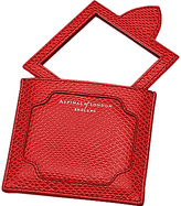 Aspinal of London Marylebone Leather Compact Handbag Mirror, Berry Red