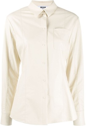 MSGM Faux-Leather Fitted Shirt