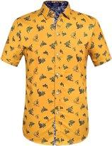 SSLR Men's Straight Fit Short Sleeve Shark Prints Shirt