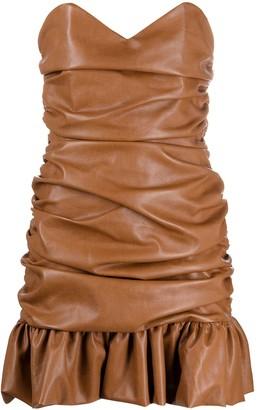 Giuseppe di Morabito Ruched Faux-Leather Mini Dress