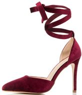Quiz Red Velvet Tie Ankle Court Shoes