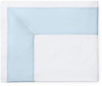 Sferra Casida Flat Sheet - White/Powder Full/queen