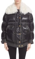 Burberry Women's Puffer Coat With Removable Genuine Shearling Collar