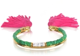 Aurelie Bidermann 18K Gold-plated & Green Jaspe and White Bamboo Beads Sioux Bracelet w/Pink Cotton Tassels
