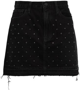 Frame Crystal-embellished Denim Mini Skirt