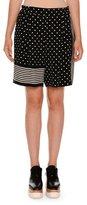 Stella McCartney Polka-Dot Striped-Trim Shorts, Black
