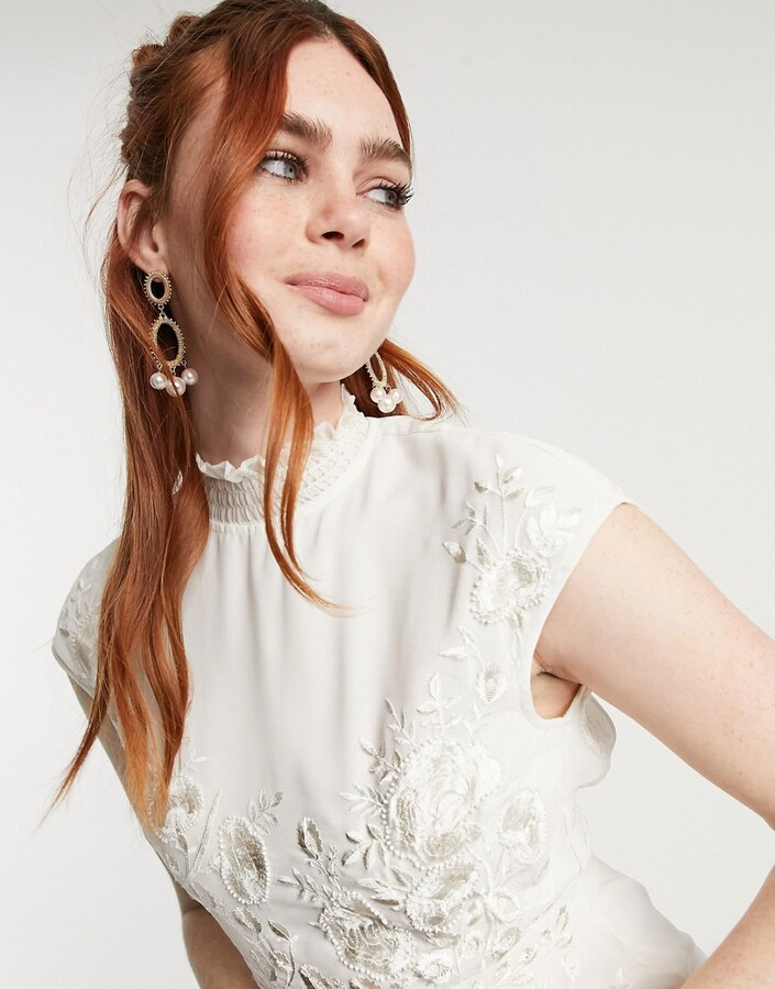 Thumbnail for your product : Hope & Ivy Bridal floral beaded and embroidered maxi dress with open back in ivory
