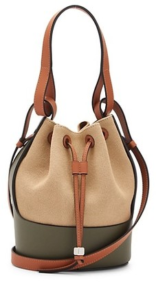 Loewe Small Balloon Leather-Trimmed Canvas Bucket Bag