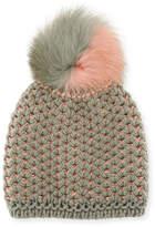 Inverni English-Rib Knit Beanie w/ Two-Tone Fur Pompom