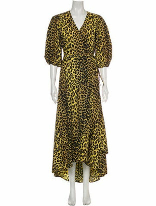 Ganni Animal Print Long Dress Yellow