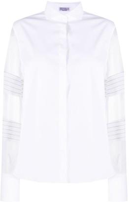 Brunello Cucinelli sheer sleeve spread collar shirt