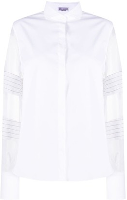 Brunello Cucinelli Sheer Sleeve Spread Collar Shirt