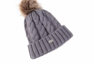 AnJuHoPa Fluffy Bobble Hat Knit Beanie Faux Fur Pom Pom for Women Lined Extra Soft Fleece Grey