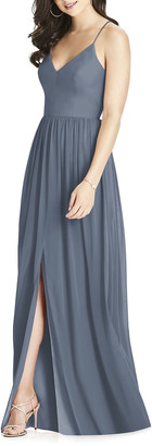 Dessy Collection V-Neck Crossback Lux Chiffon Gown