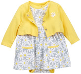Offspring Daisy Bodysuit Dress & Cardigan Set (Baby Girls)